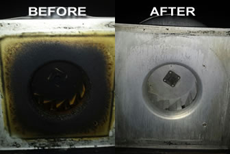 Fan Base Cleaning Before and After